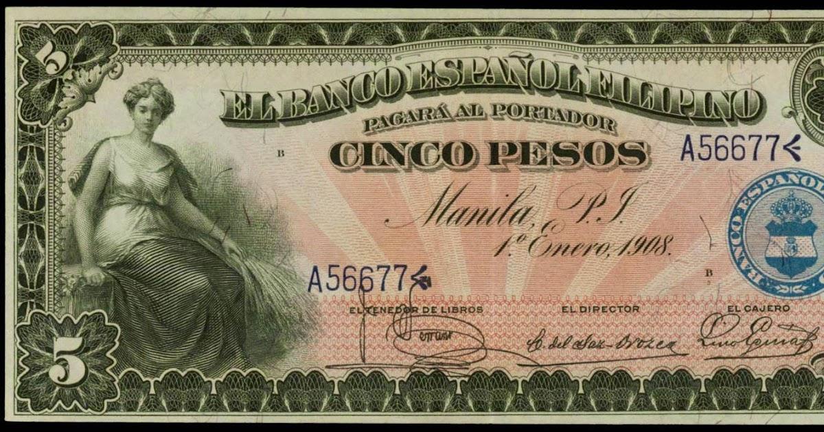 1908 Us Philippines 5 Pesos El Banco Espanol Filipino