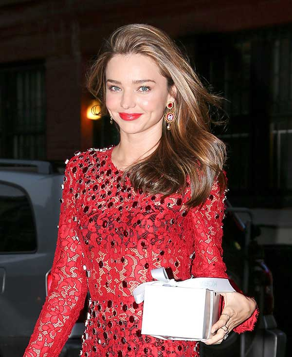 Leggy Candids Pics - Miranda Kerr in red dress with lipstick ...
