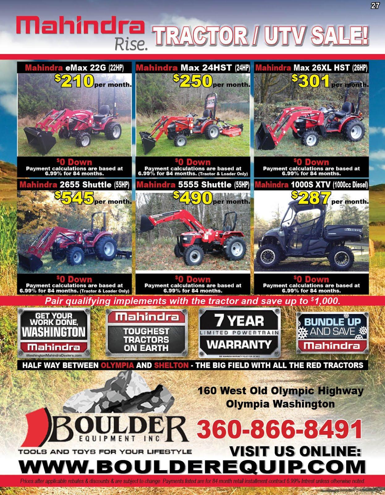 Boulder Equipment New Mahindra Tractor/UTV Sale!!