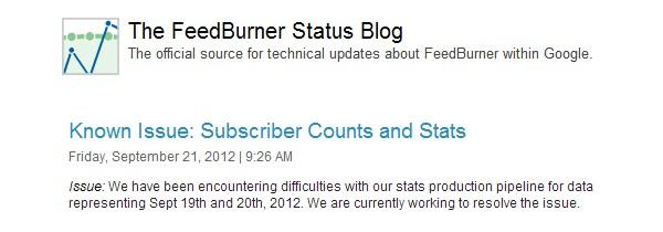 FeedBurner Status Blog