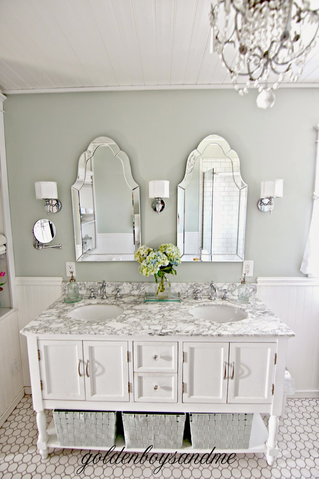 DIY master bathroom vanity with Beverly vanity and carrera marble countertop-www.goldenboysandme.com