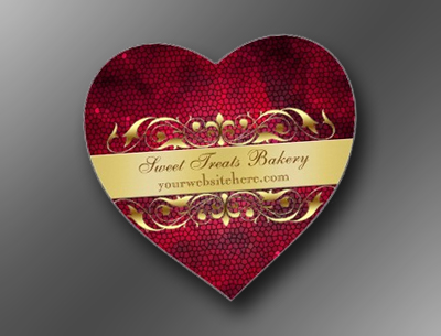 Red Texture Heart Cupcake Baking Label Stickers