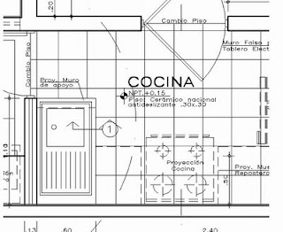 Dibujo tecnico detalles arquitectonicos for Cocina plano arquitectonico