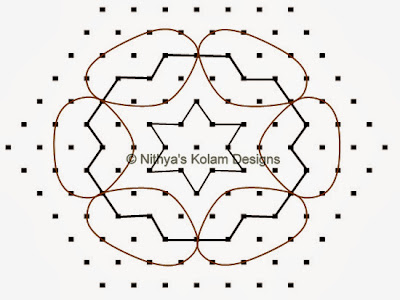 3 Pongal Kolam Interlocked dots 13 to 7