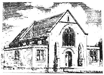 A sketch of a small chapel, single gable with an arched window, central door below.  On either side a flat roofed extension with square topped windows.  A pair of butresses stand on either side of the door