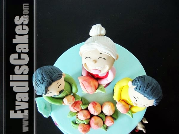 Top view cake of Grand Ma celebration cake