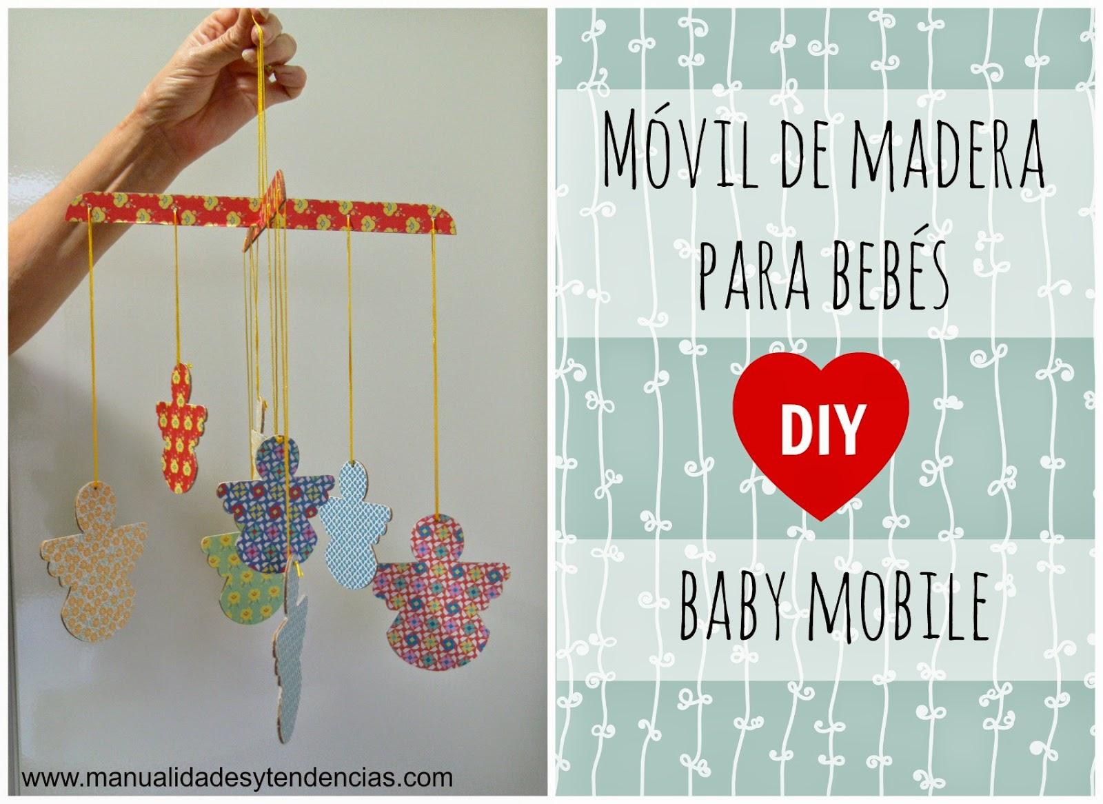 móvil para cuna de bebé de madera