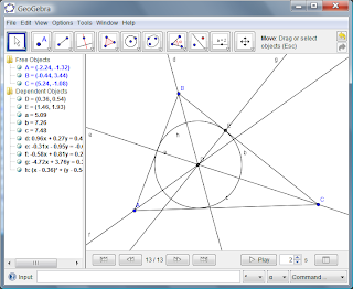 Picture created using GeoGebra of a circle, some lines, and a triangle