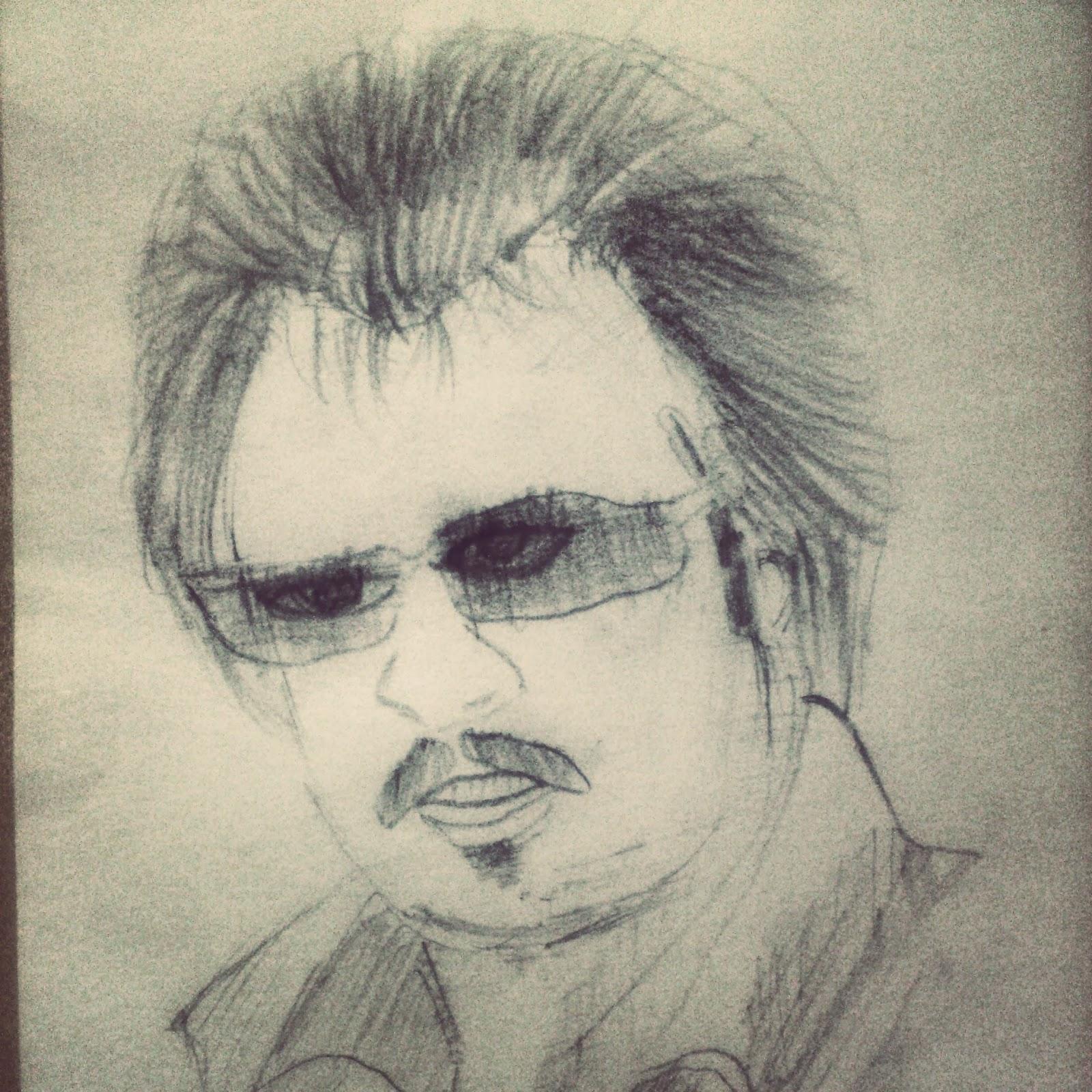 Sketch Of Superstar Rajnikant