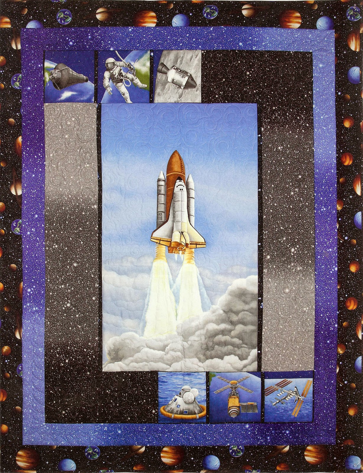 Sew in love with fabric i want my space for Space shuttle quilt