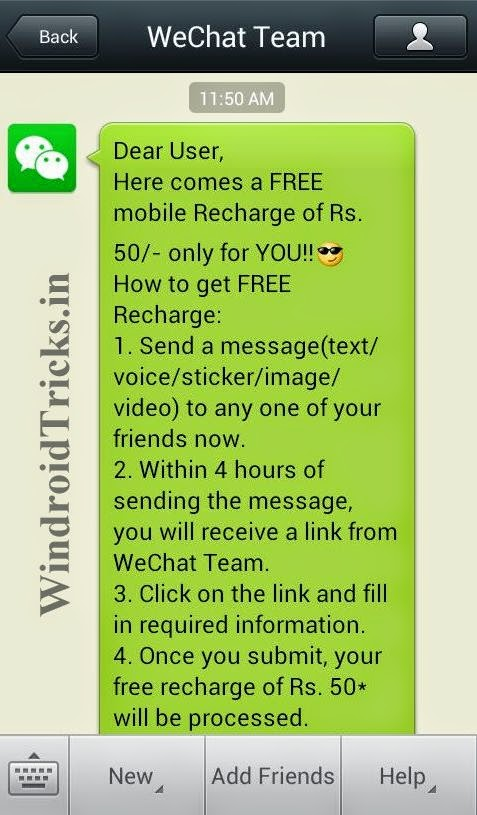 50 Rs. Free Recharge using WeChat APP