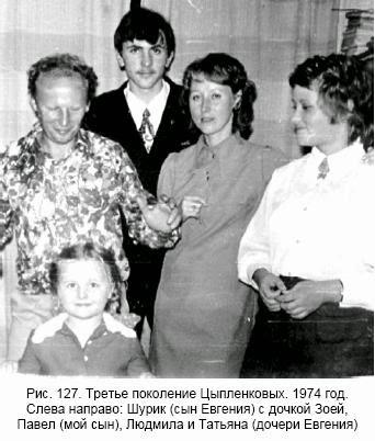 Рис. 127. Третье поколение Цыпленковых. 1974 год. Слева направо: Шурик (сын Евгения) с дочкой Зоей, Павел (мой сын), Людмила и Татьяна (дочери Евгения)