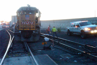 image of a derailed Union Pacific engine on Harbor Island. Photo Credit: Chris Wilkerson, Dept of Ecology