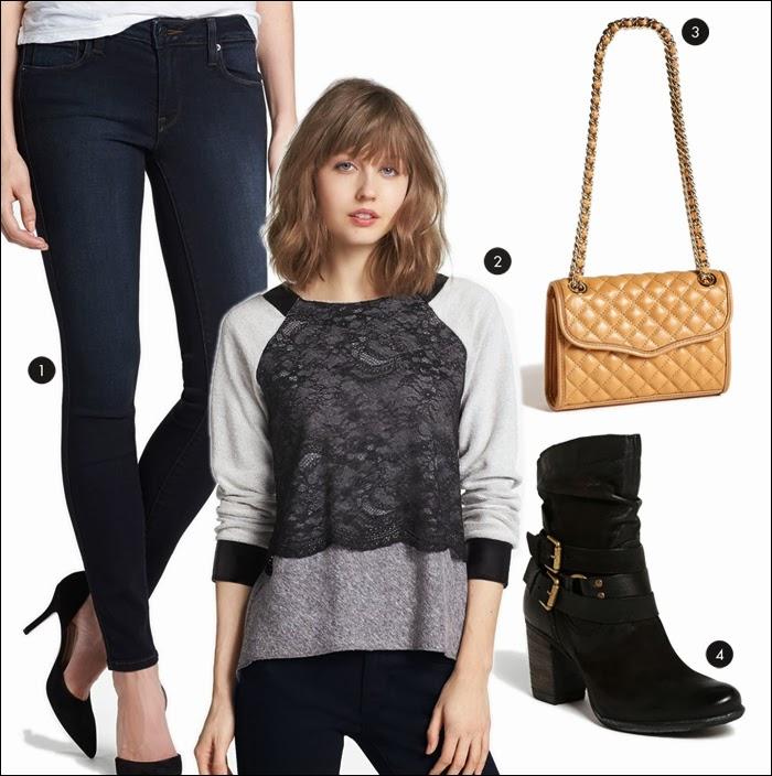 nordstrom, booties, skinny jeans, rebecca minkoff, sweatshirt, lace sweatshirt