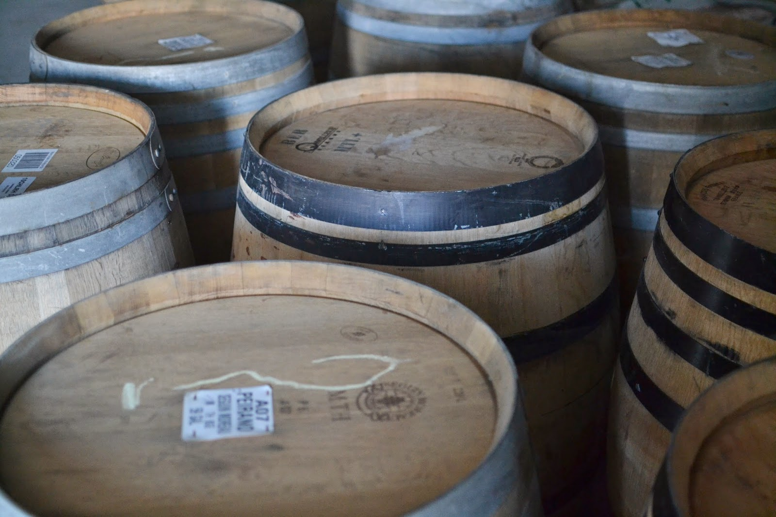 Red and White Wine Barrels