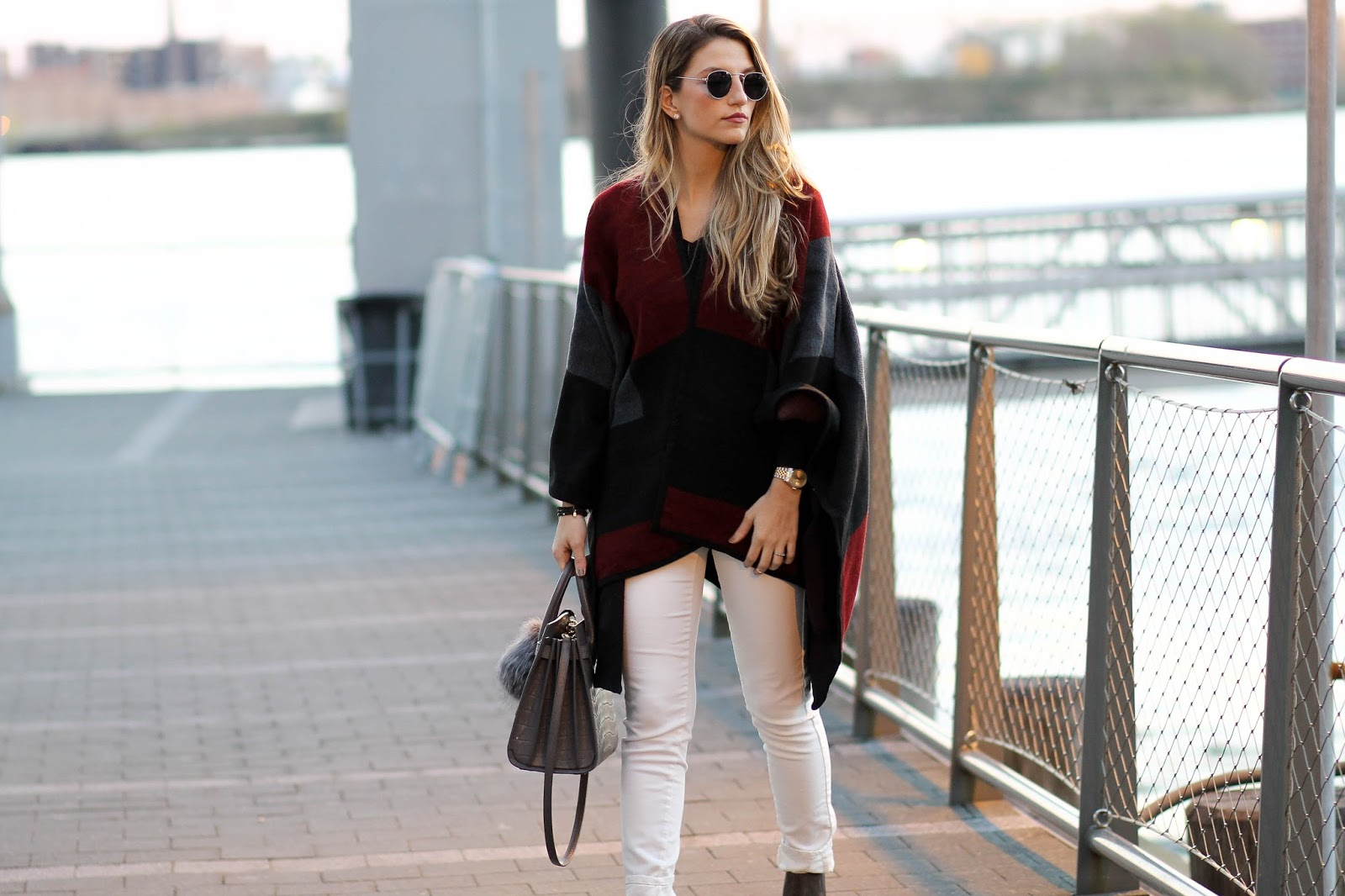 color block poncho outfit, dressed for dreams