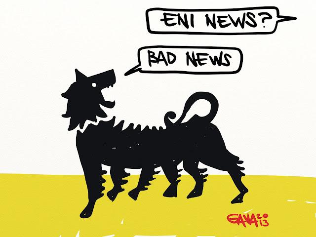 Gava gavavenezia venezia satira vignette caricature eni cane sei zampe giallo nero news bad news