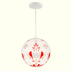 Folk Birds Red Blue, School House Electric pendant light
