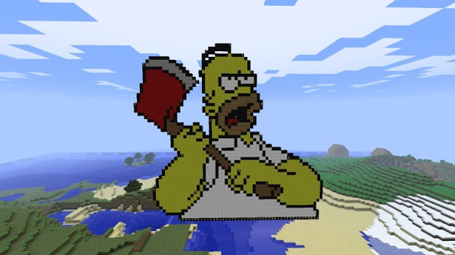 Hard Minecraft pixel art of Homer Simpson