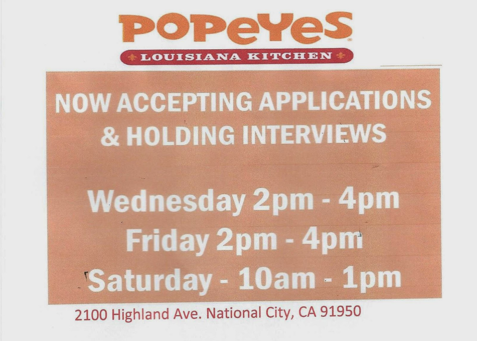 Sweetwater high counseling center april 2015 now hiring popeyes chicken falaconquin