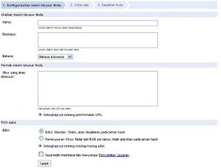 Formulir pembuatan google custom search