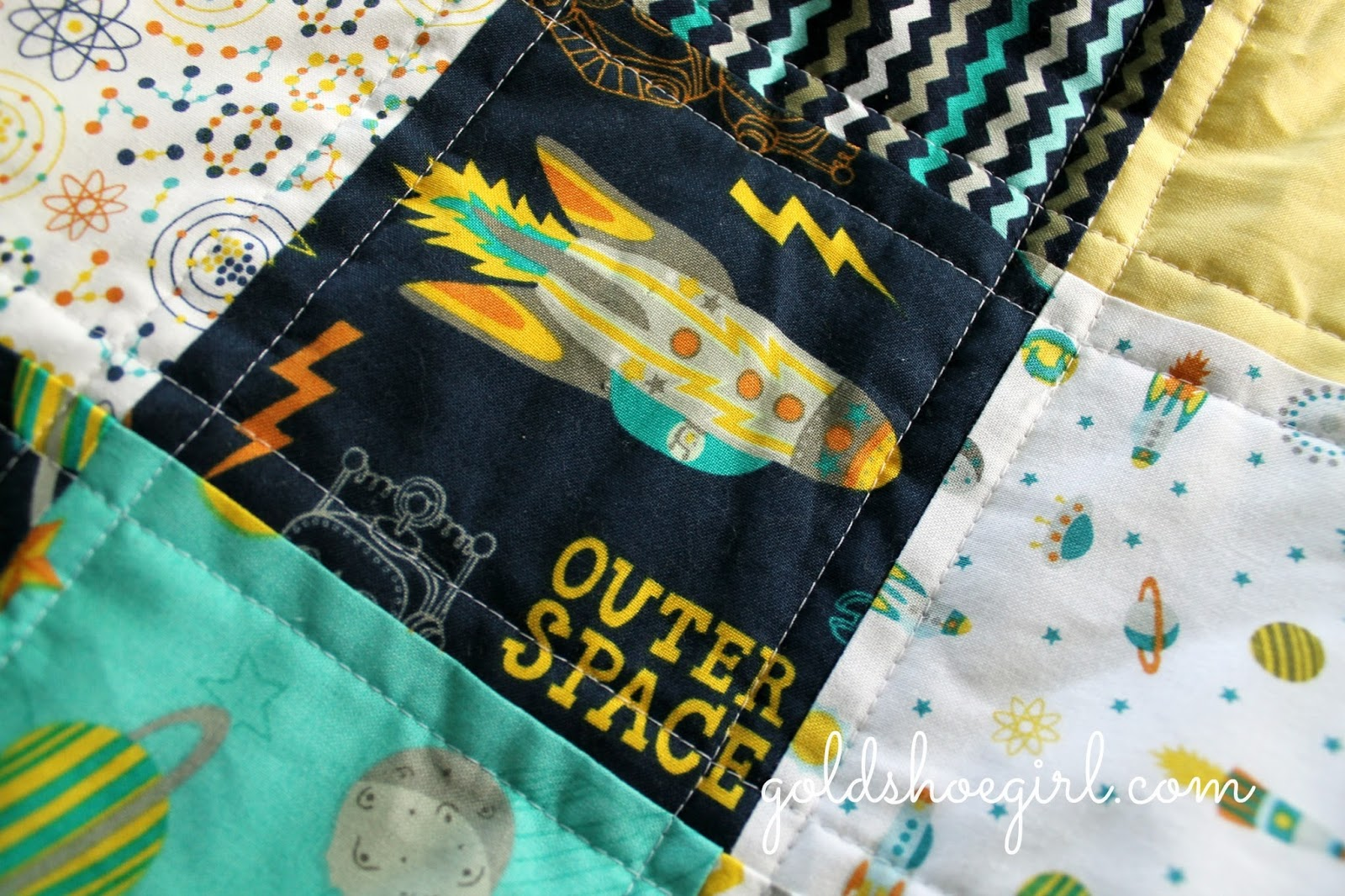Gold shoe girl spaceships and robots for Outer space quilt