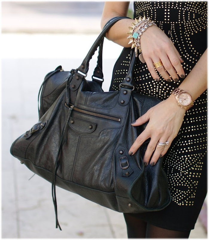 Balenciaga work bag, Michael Kors watch, OPI nail polish, BVLGARI BZero ring