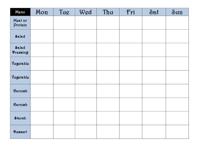 Pin 7 Day Menu Planner Template on Pinterest