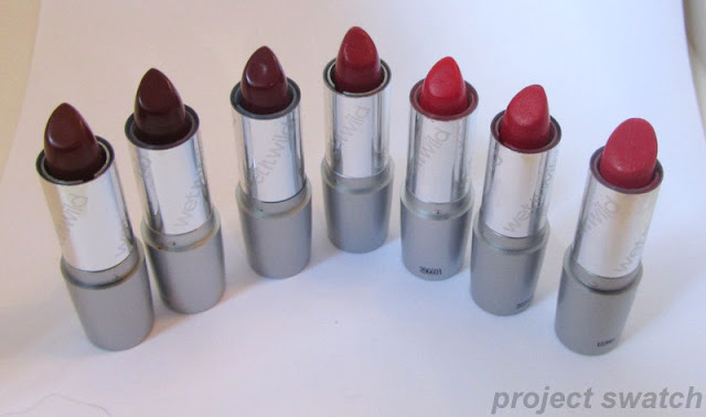 Wet n Wild Silk Finish lipsticks:  Mink Brown (506B), Black Orchid (508A), Dark Wine (522A), Cinnamon (509A),  Cherry Frost (514A), Hot Red (519A), Hot Paris Pink (520E)