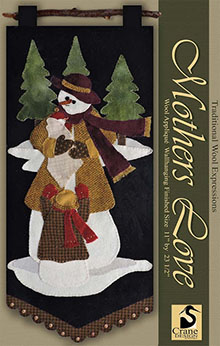 """Mothers Love Wool Applique Wallhanging 11"""" x 23.5"""""""