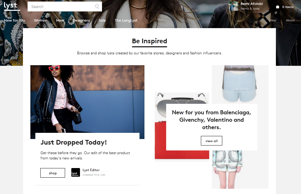 Lyst homepage