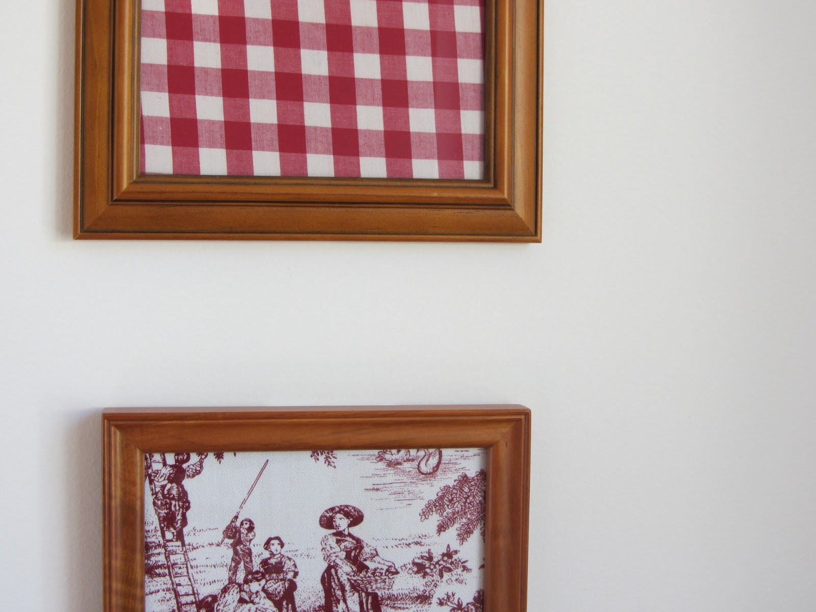 Thom haus handmade cheap decorating with fabric in old for Fabric picture frames
