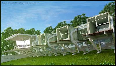 Visualize 3d desain Rumah Box kontainer