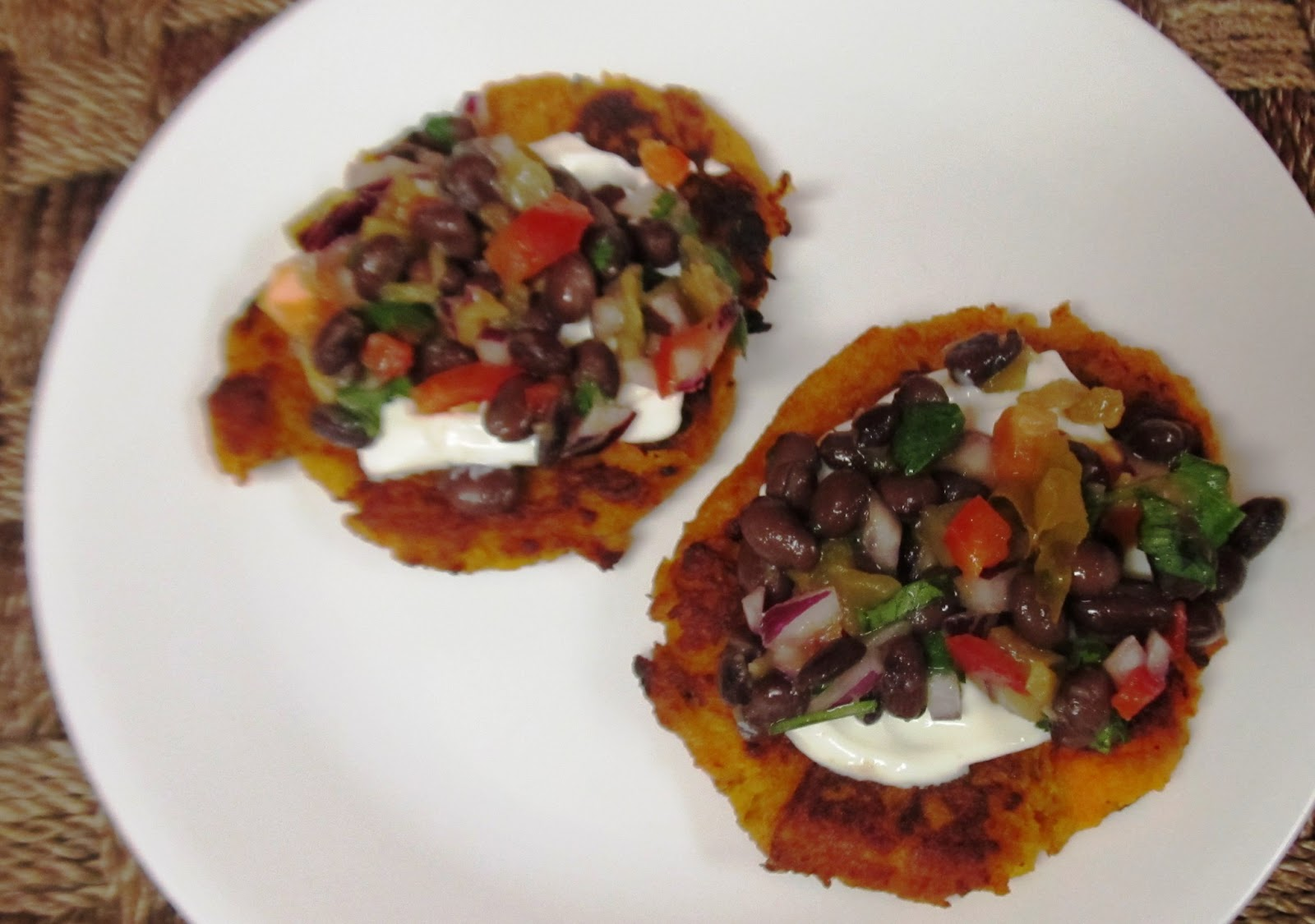 ... ... Healthy & Low Calorie: Sweet Potato Patties with Black Bean Salsa