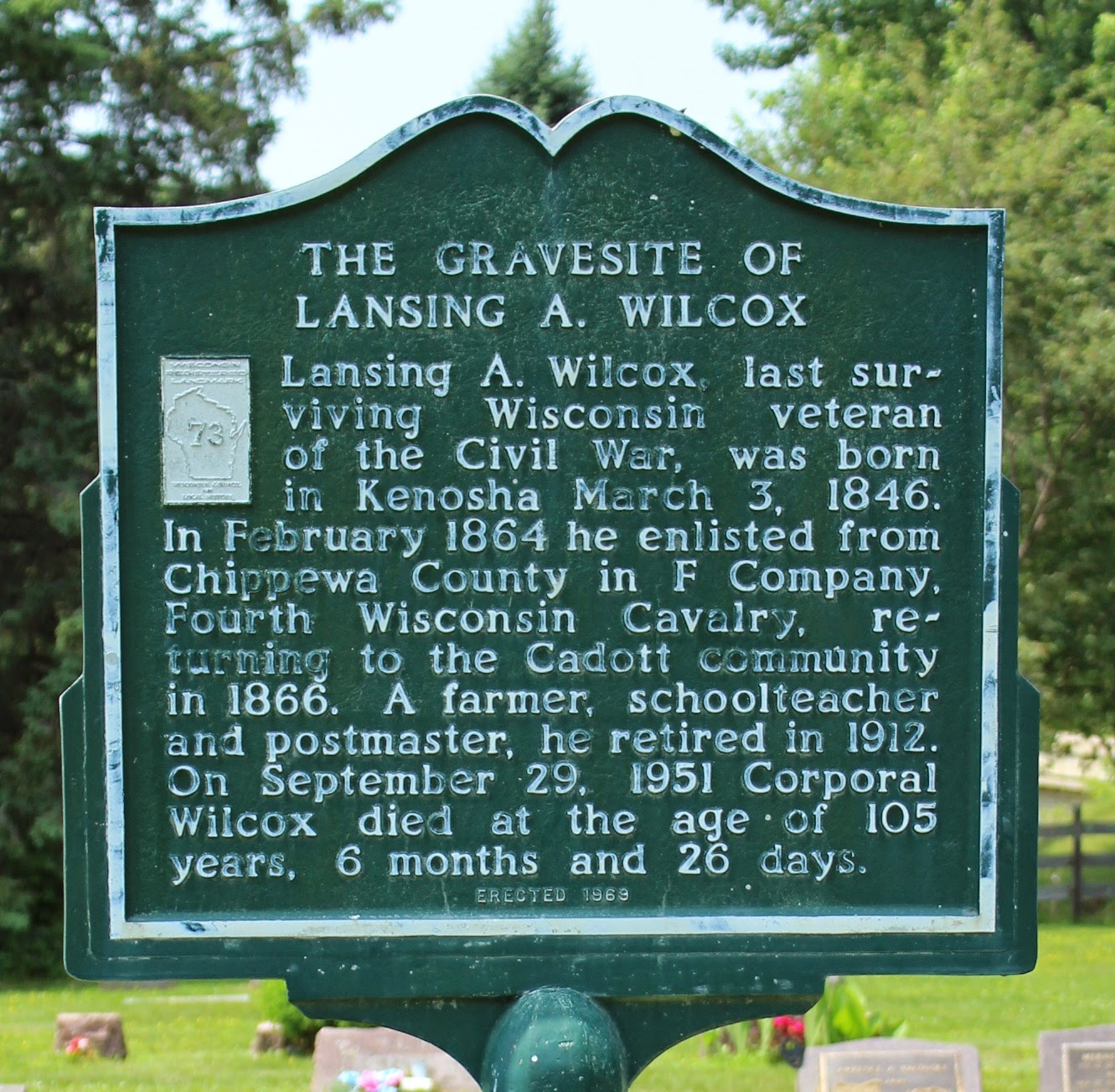 Marker of the Week:<br>WRL-73: The Gravesite of Lansing A. Wilcox