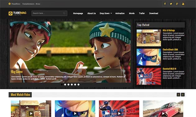 TubeMag Responsive Video Blogger Template