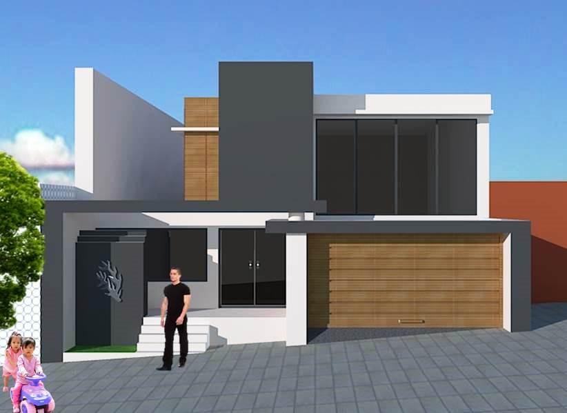 Fachadas de casas dise o de casa para terrenos inclinados for Fachadas para terrazas de casas