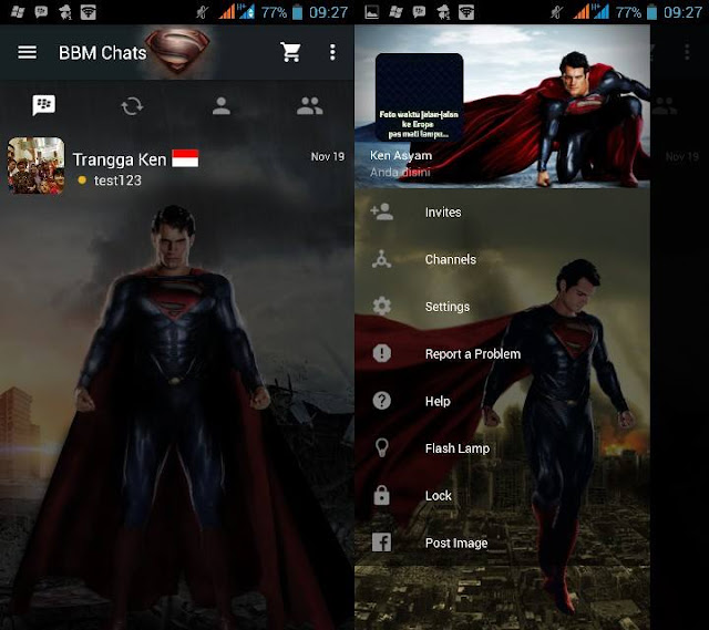 Preview BBM Man of Steel - BBM Android V2.11.0.16