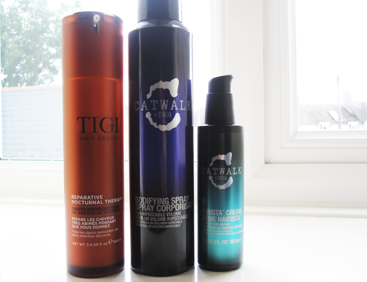 A picture of TIGI Hair Reborn Reparative Nocturnal Therapy, Catwalk by TIGI Bodifying Spray & Hairista Cream review