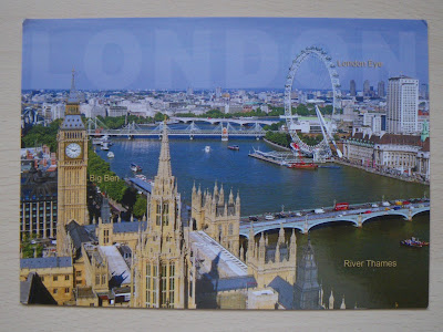 Postal de Londres: Big Ben y The London Eye