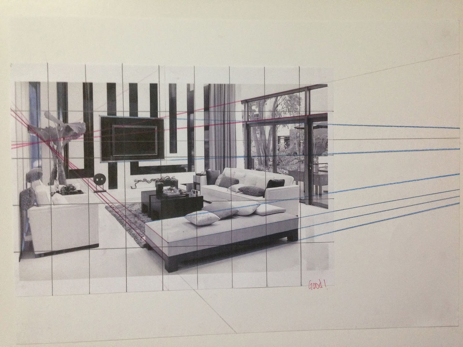3 Point Perspective Interior Drawing. 3 Point Perspective Interior Drawing   Iscblog
