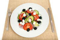 Greek Salad On Plate. Sałatka grecka na talerzu.