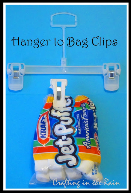 hanger clip holding a bag of marshmallows