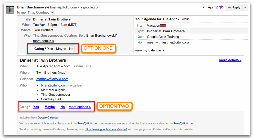 Replying yes no or maybe to google calendar events google the major difference between the two reply options is that one will open your google calendar in a new window showing you a confirmation of your decision stopboris Images