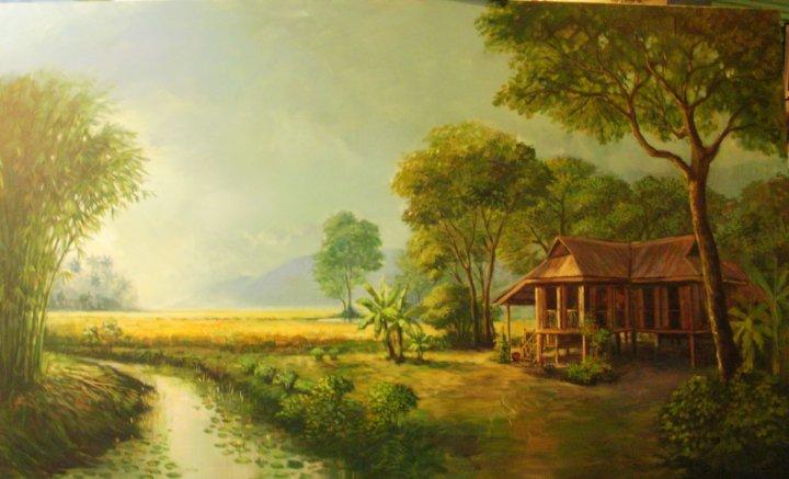 Gambar Lukisan Pemandangan Kampung