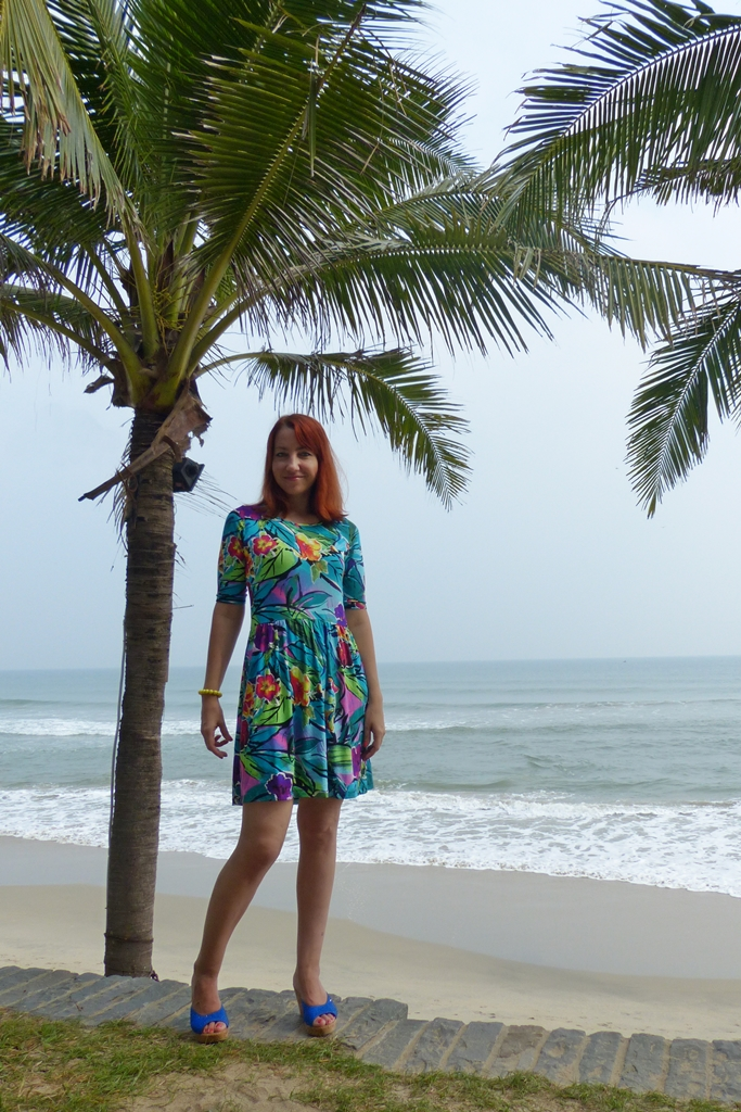 Tropical print dress and strapless wedges