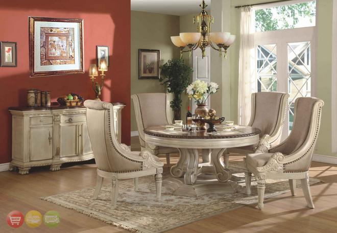 Antique Furniture Dining Room Set White Elegant Classic