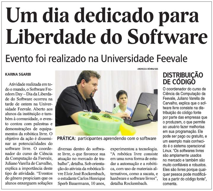 jornal nh um dia dedicado para liberdade de software