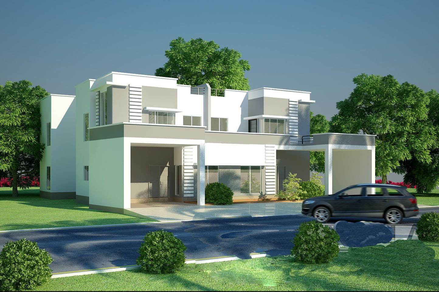 Modern homes exterior designs front views pictures Modern home exteriors photos