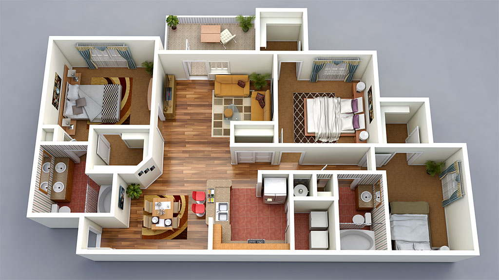 13 awesome 3d house plan ideas that give a stylish new for Home design 3d view